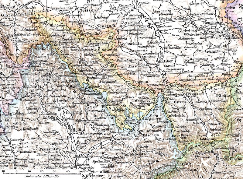 Austrian Silesia 1880 Andrees Hand-Atlas 1903