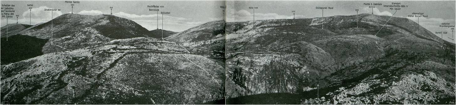 View of Monte Santo and Monte San Gabriele, showing Veliki hrb and altitude 552 in between.  Linzer Hessen, Geschichte des k.u.k. Infanterieregimentes Nr. 14