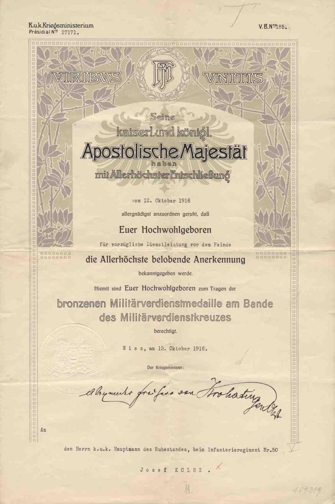 bronze military merit medal certificate 1916