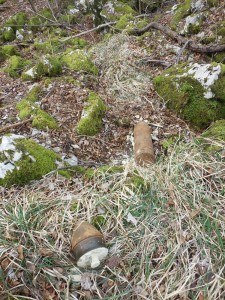 Unexploded shell on NW flank, spring 2015