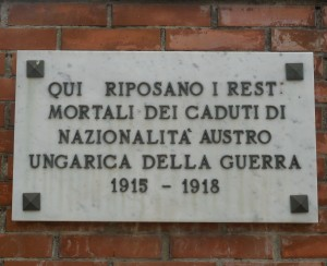 Plaque Calci cemetery, 2015